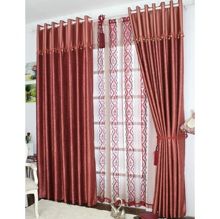 Energy Saving Curtains full of Burgundy Floral Patterns(Two Panels)