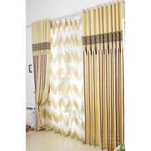 Energy Saving Curtains with Striped Yellow Jacquard Cotton/Polyester Blend Material