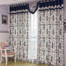 England Style Cotton Linen and Yarn Blue Curtains for Blackout