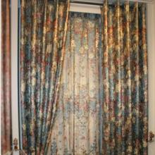 European Style Floral Printed Colorful Sound Absorption Curtains of Chenille (Two Panels)
