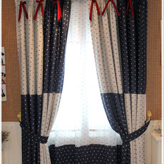 European Style Polka Dots Printing Poly Thermal Curtains