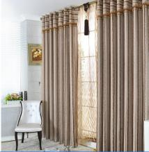 European Style Striped Polyester and Fiber Curtains with Lines in Brown (Two Panels)