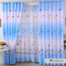 Fancy and Dreamy Butterfly Ice Blue Energy Saving Polyester Curtains (Two Panels)