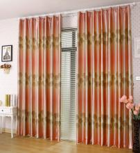 Fantastic Polyester and Fiber Blackout Orange Red Solid Curtains