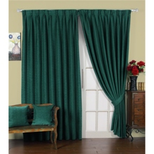Fascinating Dark Green Poly/Cotton Blend Lined Curtains