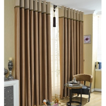 Fascinating Lineate Polyester Coffee Energy Saving Curtains