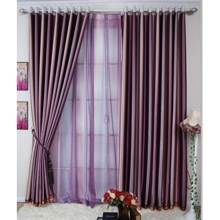 Fascinating Purple Striped Polyester Blackout Curtains (Two Panels)