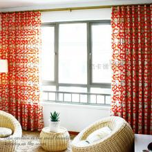 Festival Red Geometrical Printed Cotton Curtains (Two Panels)