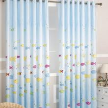 Fishes Printing Blue Linen and Cotton Blue Curtains