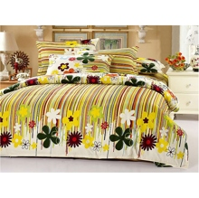 Floral Striped Yellow 4-piece Duvet Cover Set