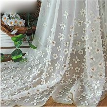 Flower Living Room White Sheer Window Curtains