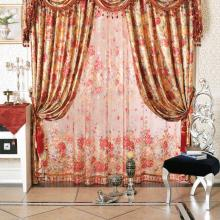 French Luxurious Chenille Blended Floral Jacquard and Printed Curtains