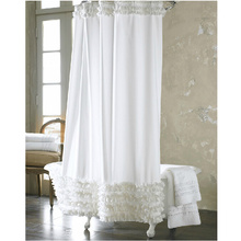 Fresh Lace White Fabric Shower Curtain for High-end style