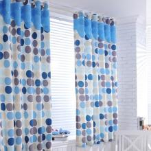 Fresh Polka Dots Polyester Blackout Curtains in Blue