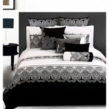 Full/Queen Size Black and  White Floral Cotton 4-piece Duvet Cover Set