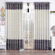 Glamorous Yarn and Fiber Poly Curtains with Plaid Patterns