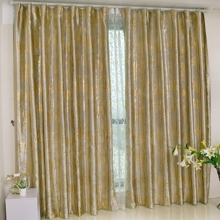 Gold Print Floral Blackout Polyester Silver Curtains (Two Panels)