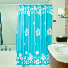 Good Quality Blue Flower and Leaf Fun Shower Curtains