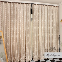 Gorgeous Geometric Brown Cotton/Linen Blend Curtains (Two Panels)