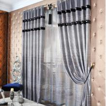 Graceful Blackout Geometrical and Striped Jacquard Silver Curtains (Two Panels)