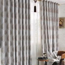 Graceful Botanical Silver Energy Saving Curtains