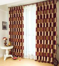 Graceful Burgundy Plaid Polyester Good Quality Curtains