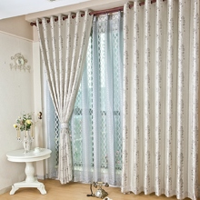 Graceful Embroidered Flowers Pattern Silver Curtains (Two Panels)