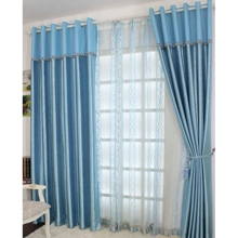 Graceful Floral Embossed Blue Solid Blackout Curtains