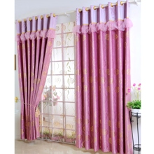 Graceful Gold Floral Printed Rose Red Blackout Polyester Curtains