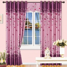 Graceful Polyester Floral Style Purple Draped Curtains (Two Panels)