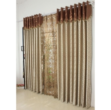 Graceful Striped Champagne Energy Saving Curtains Of Polyester Material
