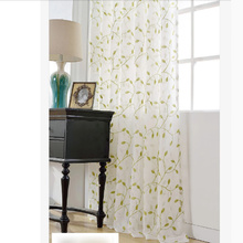 Great Green Leaf Sheer Panel Curtains for Living Room