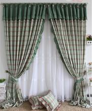 Green Country Red Plaid Cotton Sweet Thermal Curtains