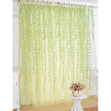 Green Leaf Sheer Curtains on Sale for Promotion