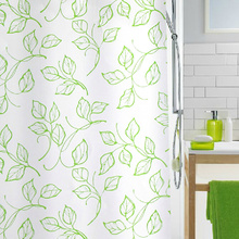 Green Leaf Simple but Nice and Inexpensive Shower Curtains