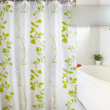 Green Leaf White Waterproof shower curtain