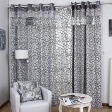 Grey Energy Saving Geometric Pattern Cotton/Poly Blend Curtains (Two Panels)
