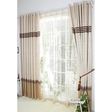 High Quality Eco-friendly Curtains with Coffee Geometric Patterns (Two Panels)