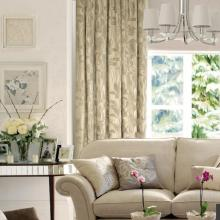 High-end 2013 Chenille Flocking Beige Modern Curtains (Two Panels)