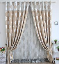 High-end Printed Coffee Chenille Blackout Lined Curtains (Two Panels)