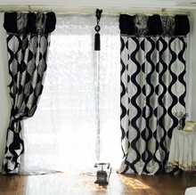 High-fashioned Black Water Waves Printed Polyester Curtains (Two Panels)