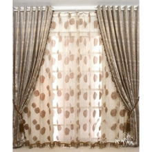 High-fashioned Botanical Printed Cotton/Polyester Blend Brown Curtains(Two Panels)