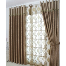 High-quality Flocking Jacquard Faux Brushed Brown Curtains