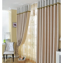 Ivory Polyester Printed Solid Curtains with Embroidery