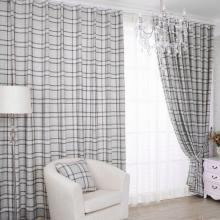 Jacquard Light gray Plaid Country Style Eco-friendly Curtains (Two Panels)