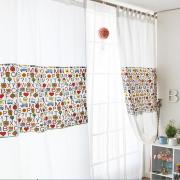 Kid Like Eco-friendly Cute White Cotton Printed CurtainS