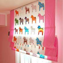 Kids Little Poney Cotton Blackout Curtains in Pink