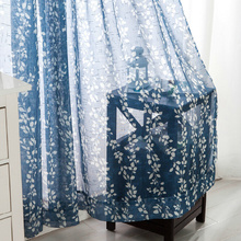 Leaf Design Printing Blue Contemporary Sheer Curtains