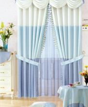 Light Blue Hit Color Splice Living-Room Curtains(Two Panels)