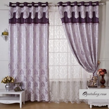 Lilac Curtains of Fabulous Polyester Fabric Hearts and Flowers Designs (Two Panels)